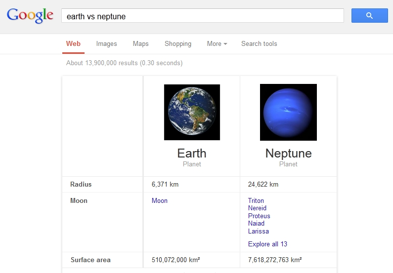 earth vs neptune on google