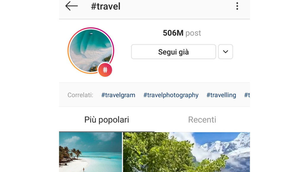 Example of related Instagram hashtags